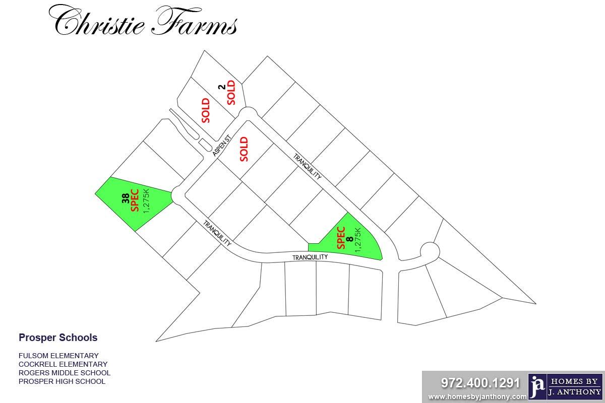 Christie Farms Community in Prosper TX- Homes By J. Anthony-DFW Custom Home Builder