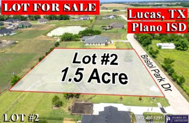 Lot For Sale-Homes By J Anthony offers Premier lots for home construction in Lucas TX, Bristol Park Community
