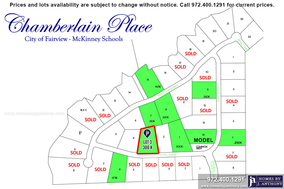 Chamberlain Place Community in Fairview TX-Lot n3 For Sale-November 2019- Homes By J. Anthony-DFW Custom Home Builder