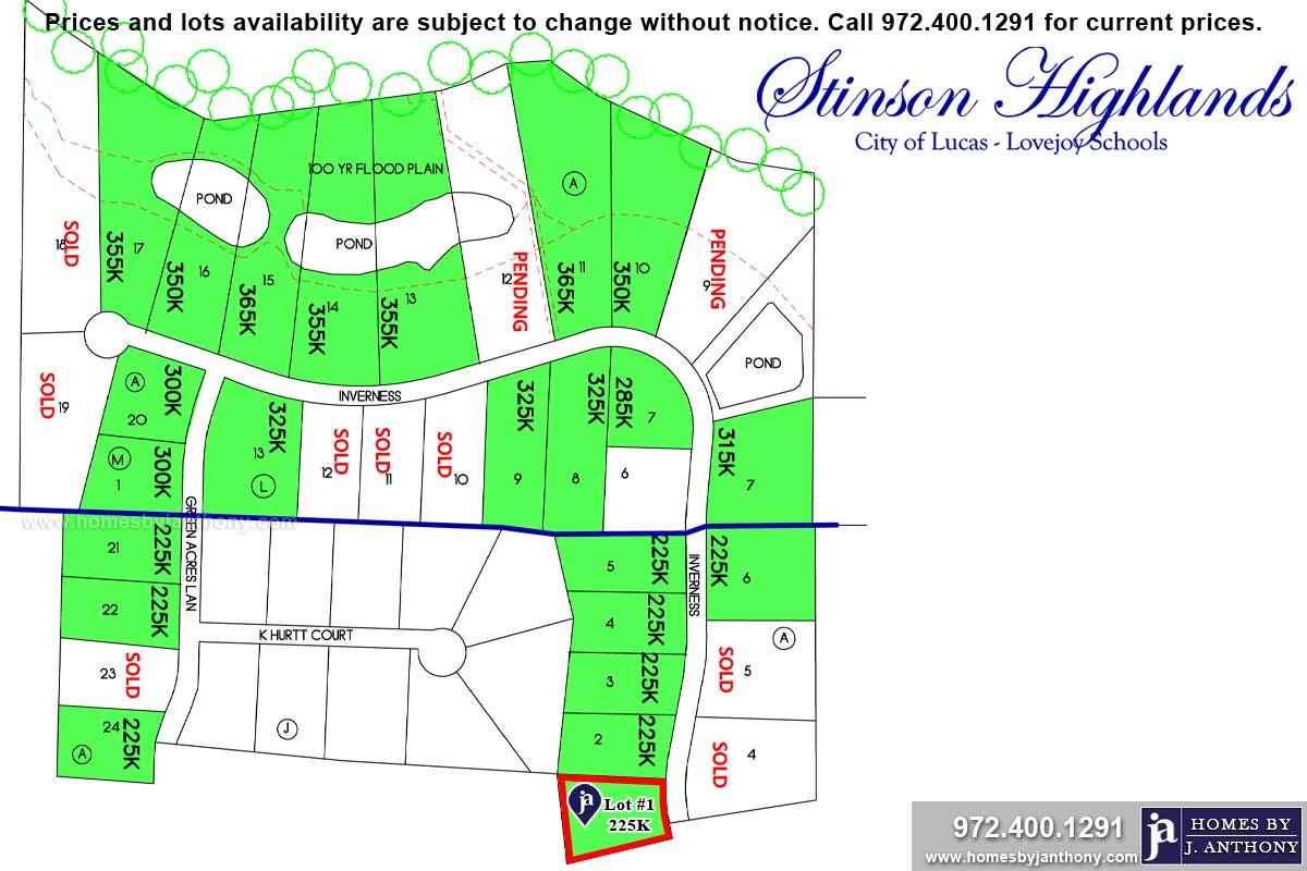 Lot For Sale (Lot#1L, Plano ISD)-Homes By J Anthony offers Premier lots for home construction in Lucas, TX, Stinson Highlands Community