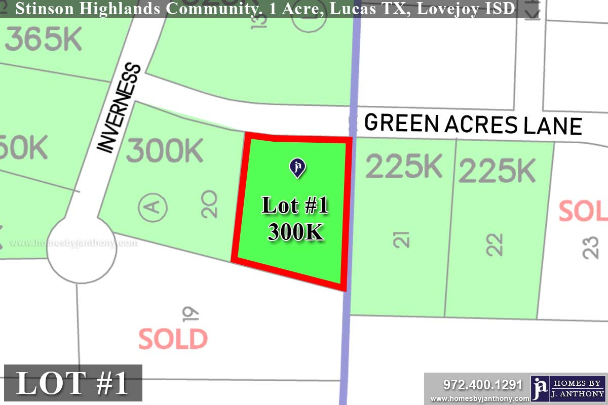 Lot For Sale (Lot#1M, Lovejoy ISD)-Homes By J Anthony offers Premier lots for home construction in Lucas, TX, Stinson Highlands Community