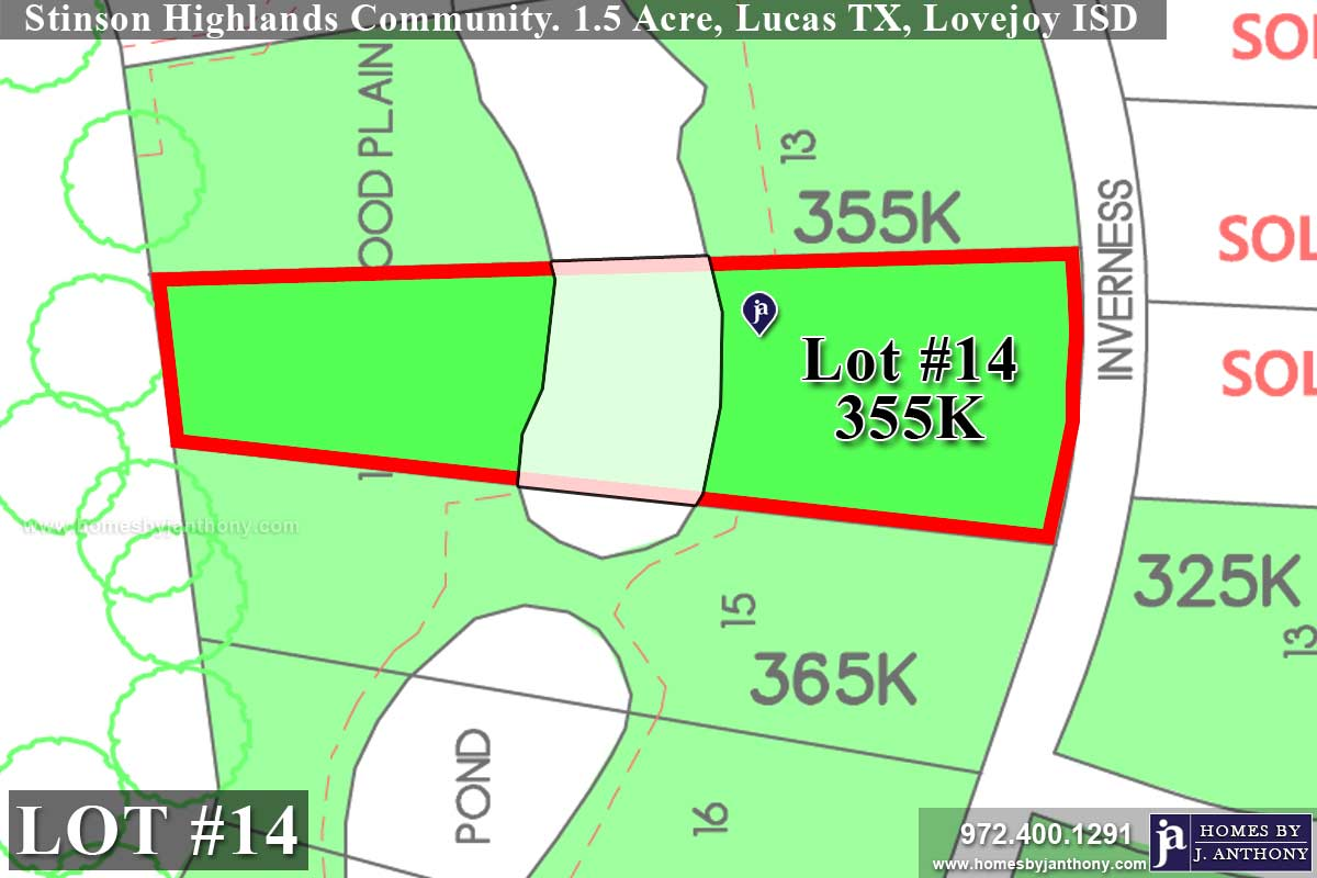 Lot For Sale (Lot#14, Lovejoy ISD)-Homes By J Anthony offers Premier lots for home construction in Lucas, TX, Stinson Highlands Community