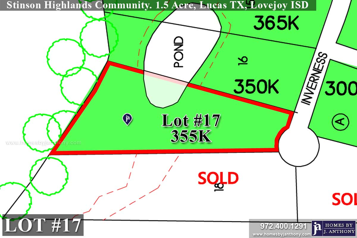 Lot For Sale (Lot#17, Lovejoy ISD)-Homes By J Anthony offers Premier lots for home construction in Lucas, TX, Stinson Highlands Community