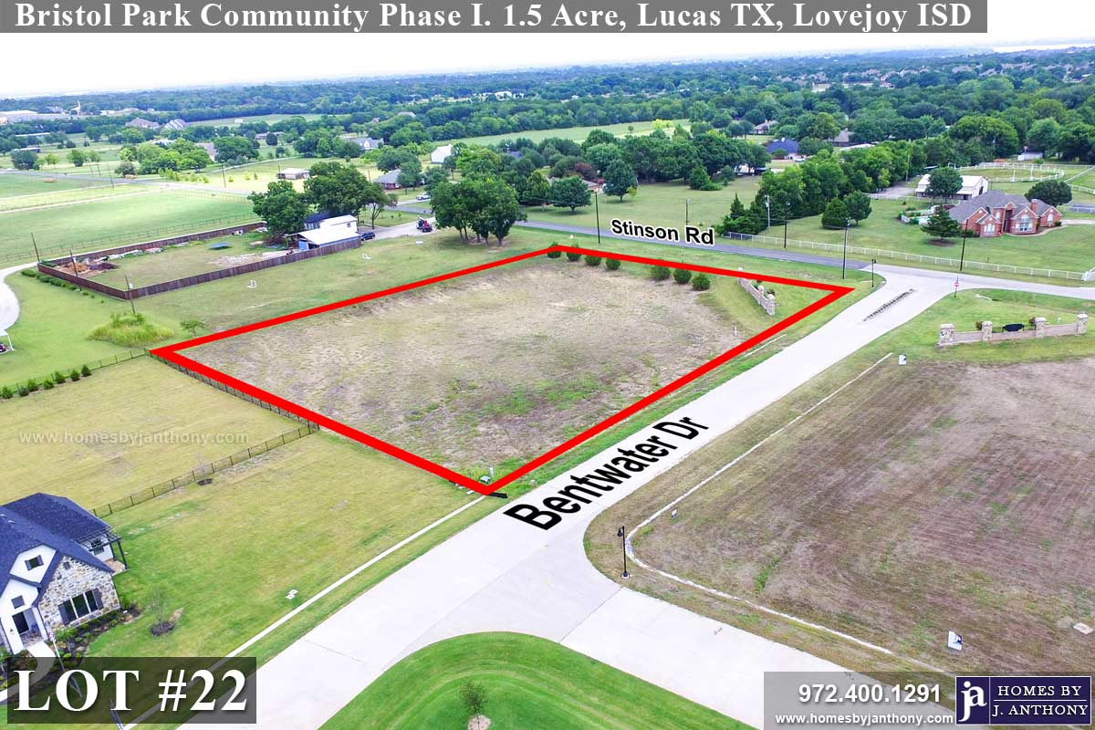 Lot For Sale (Lot#22, Lovejoy ISD)-Homes By J Anthony offers Premier lots for home construction in Lucas TX, Bristol Park Community Ph 1