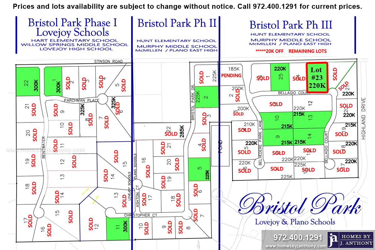 Lot For Sale (Lot#23, Plano ISD)-Homes By J Anthony offers Premier lots for home construction in Lucas TX, Bristol Park Community Ph 3