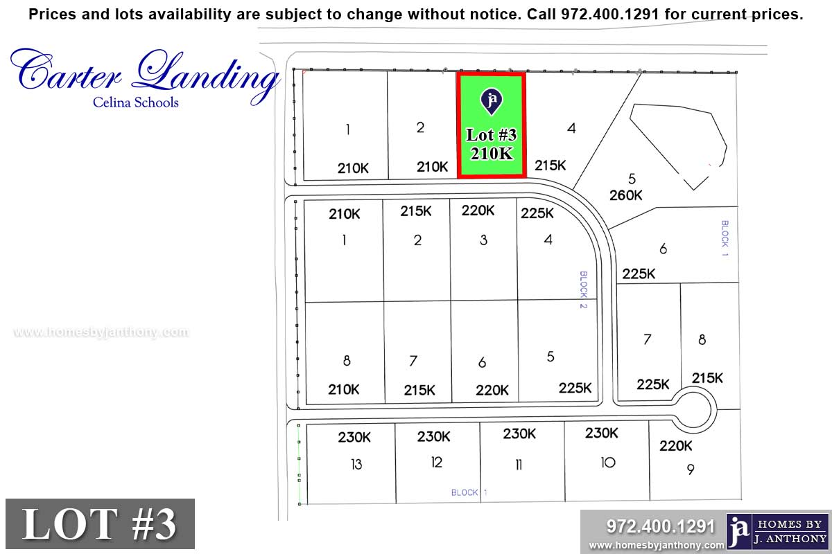 Lot For Sale (Lot#3, Celina ISD)-Homes By J Anthony offers Premier lots for home construction in Celina, TX, Carter Landing Community