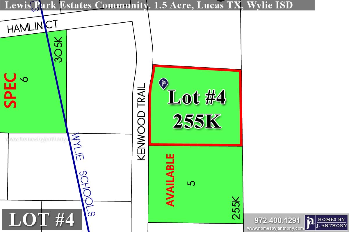 Lot For Sale (Lot#4, Wylie ISD)-Homes By J Anthony offers Premier lots for home construction in Lucas TX, Lewis Park Estates Community