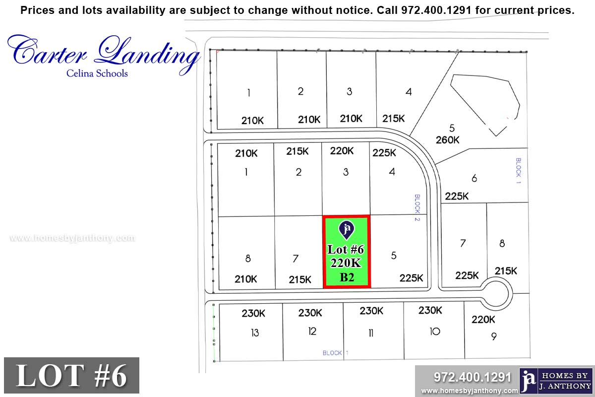 Lot For Sale (Lot#6 Block 2, Celina ISD)-Homes By J Anthony offers Premier lots for home construction in Celina, TX, Carter Landing Community
