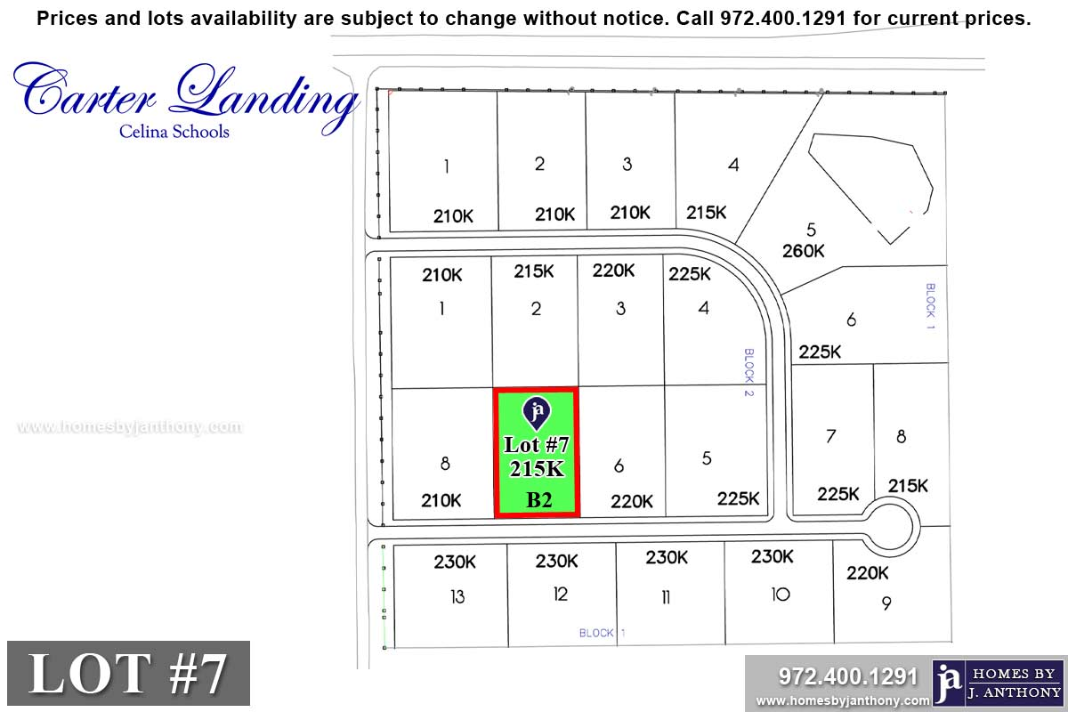 Lot For Sale (Lot#7 Block 2, Celina ISD)-Homes By J Anthony offers Premier lots for home construction in Celina, TX, Carter Landing Community