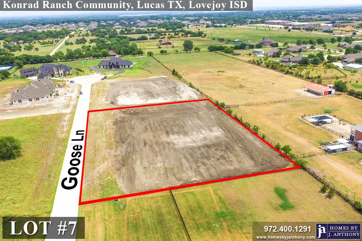 Lot For Sale (Lot#7, Lovejoy ISD)-Homes By J Anthony offers Premier lots for home construction in Lucas TX, Konrad Ranch Community