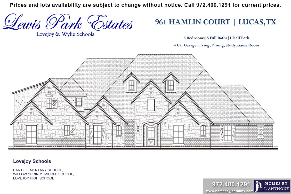 House For Sale (Lot#4, Lovejoy ISD)-Homes By J Anthony offers Premier lots for home construction in Lucas TX, Lewis Park Estates Community