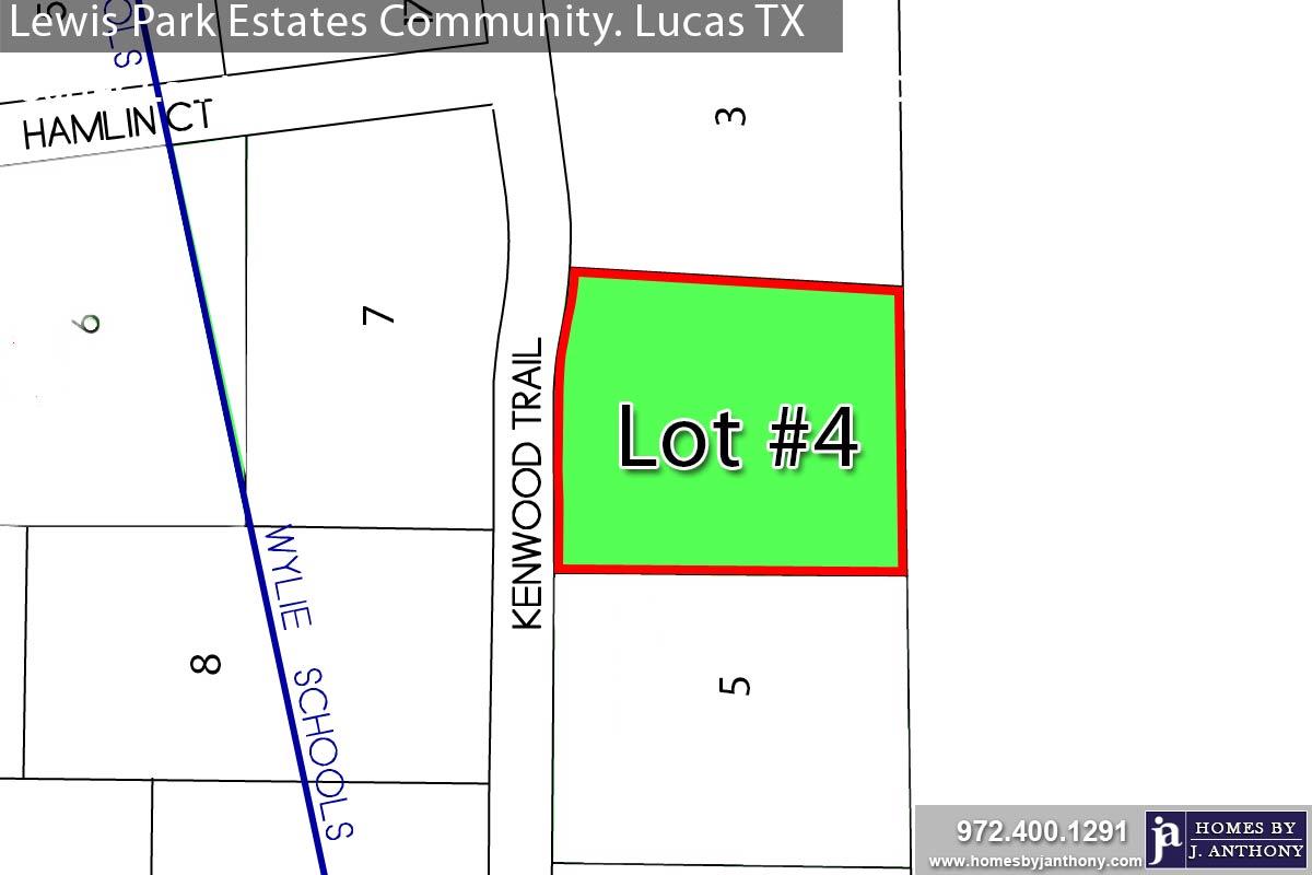 Lewis Park Estates Community in Lucas TX-Lot n4 For Sale-November 2020- Homes By J. Anthony-DFW Custom Home Builder