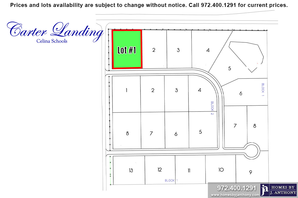 Lot For Sale (Lot#1 Block 1, Celina ISD)-Homes By J Anthony offers Premier lots for home construction in Celina, TX, Carter Landing Community