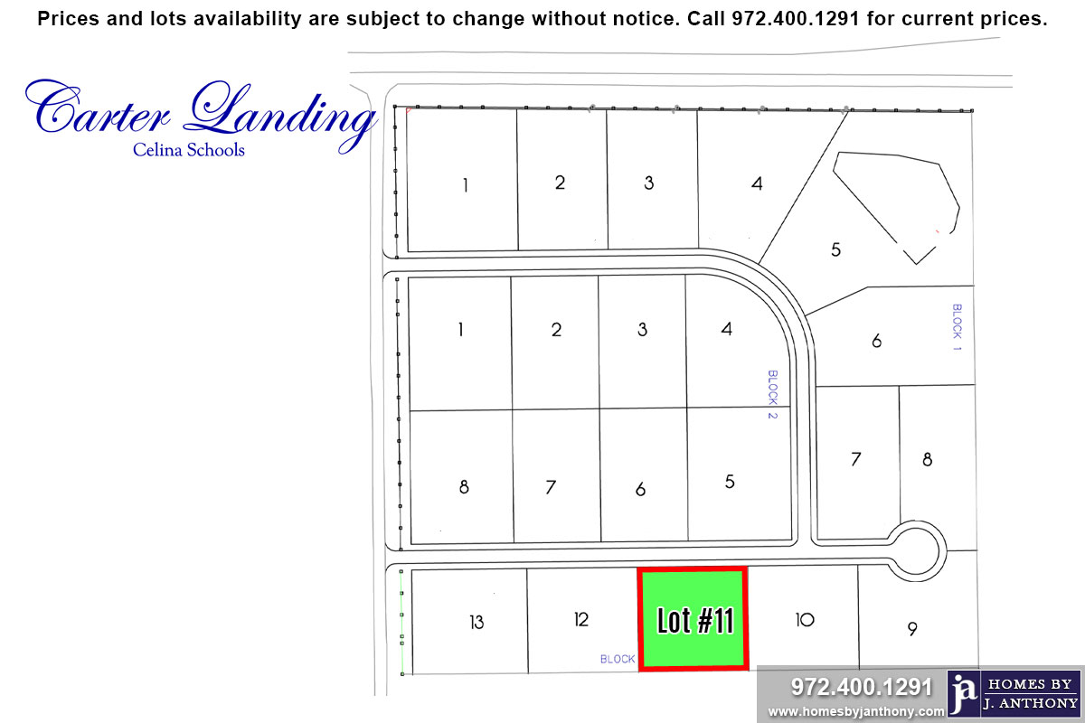 Lot For Sale (Lot#11 Block 1, Celina ISD)-Homes By J Anthony offers Premier lots for home construction in Celina, TX, Carter Landing Community