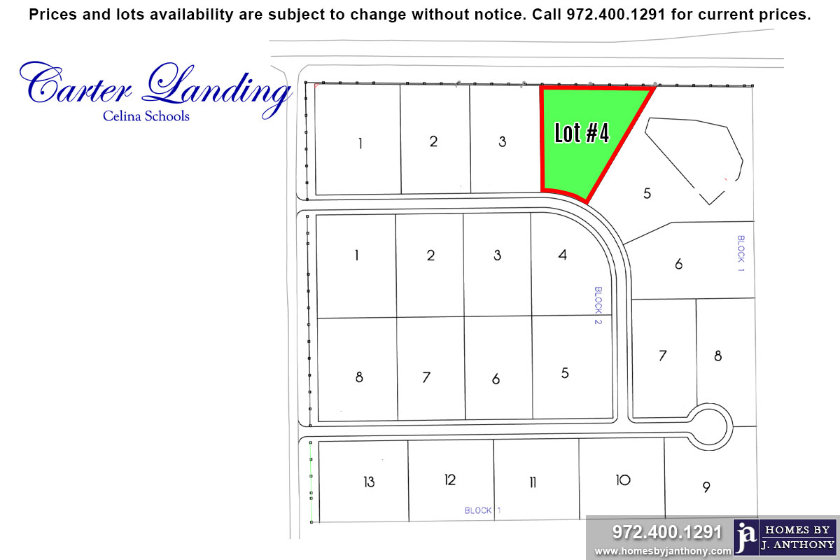 Lot For Sale (Lot#4 Block 1, Celina ISD)-Homes By J Anthony offers Premier lots for home construction in Celina, TX, Carter Landing Community