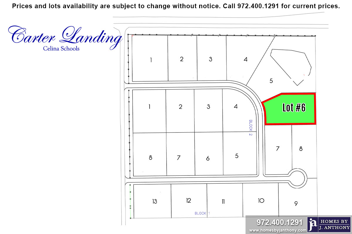 Lot For Sale (Lot#6 Block 1, Celina ISD)-Homes By J Anthony offers Premier lots for home construction in Celina, TX, Carter Landing Community