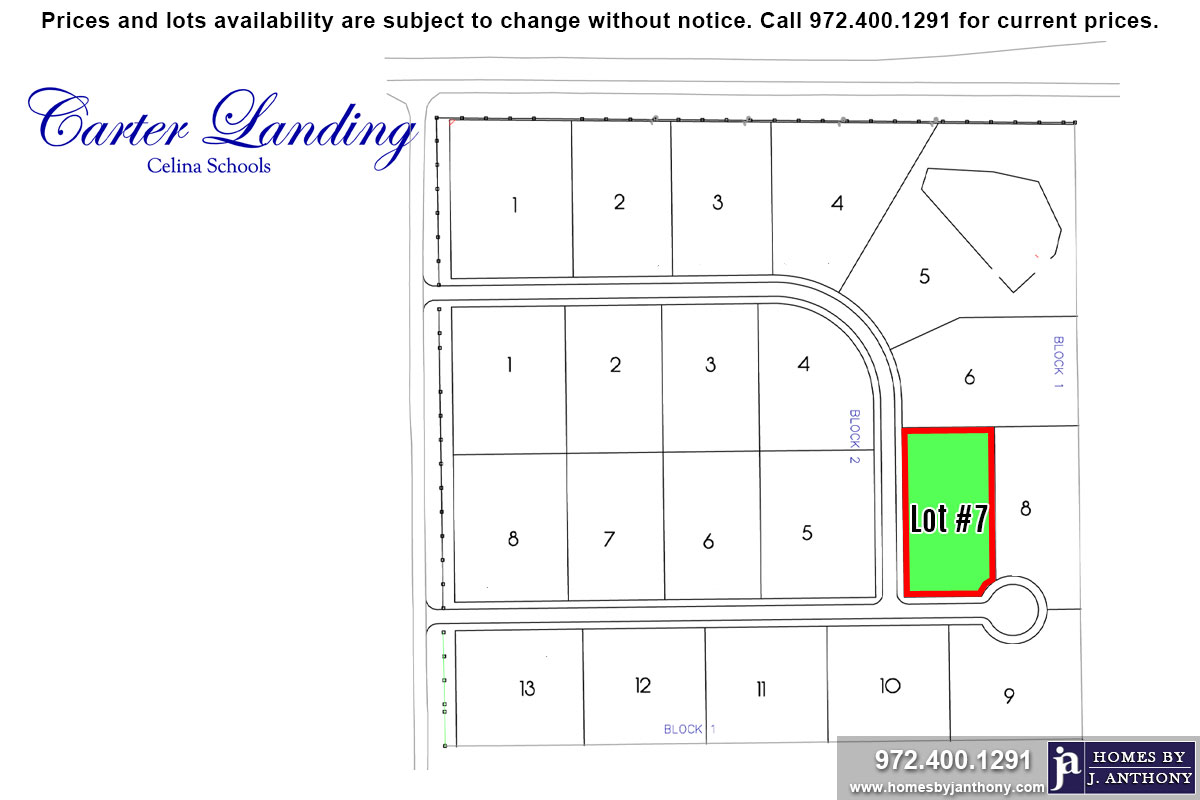 Lot For Sale (Lot#7 Block 1, Celina ISD)-Homes By J Anthony offers Premier lots for home construction in Celina, TX, Carter Landing Community