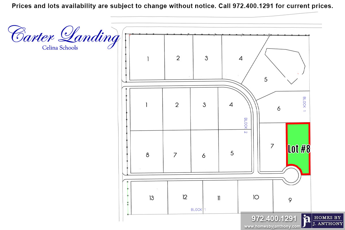 Lot For Sale (Lot#8 Block 1, Celina ISD)-Homes By J Anthony offers Premier lots for home construction in Celina, TX, Carter Landing Community