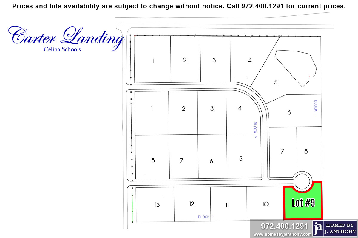 Lot For Sale (Lot#9 Block 1, Celina ISD)-Homes By J Anthony offers Premier lots for home construction in Celina, TX, Carter Landing Community