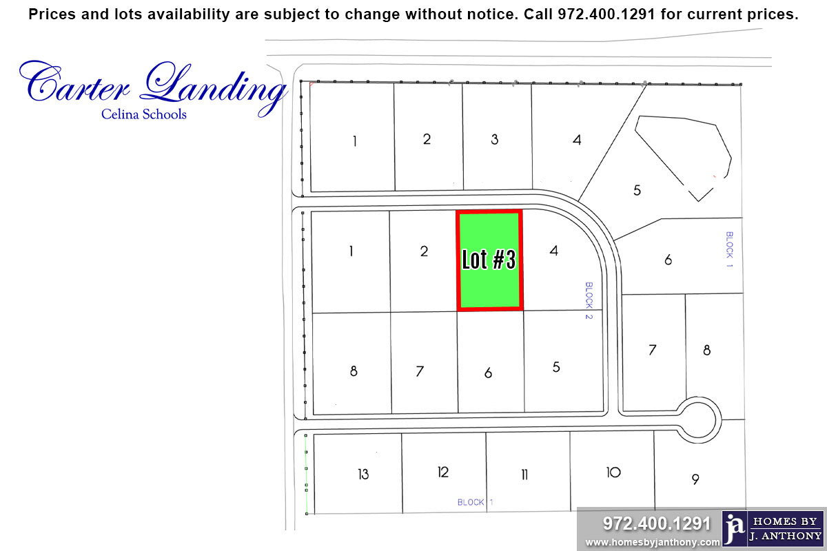 Lot For Sale (Lot#3 Block 2, Celina ISD)-Homes By J Anthony offers Premier lots for home construction in Celina, TX, Carter Landing Community