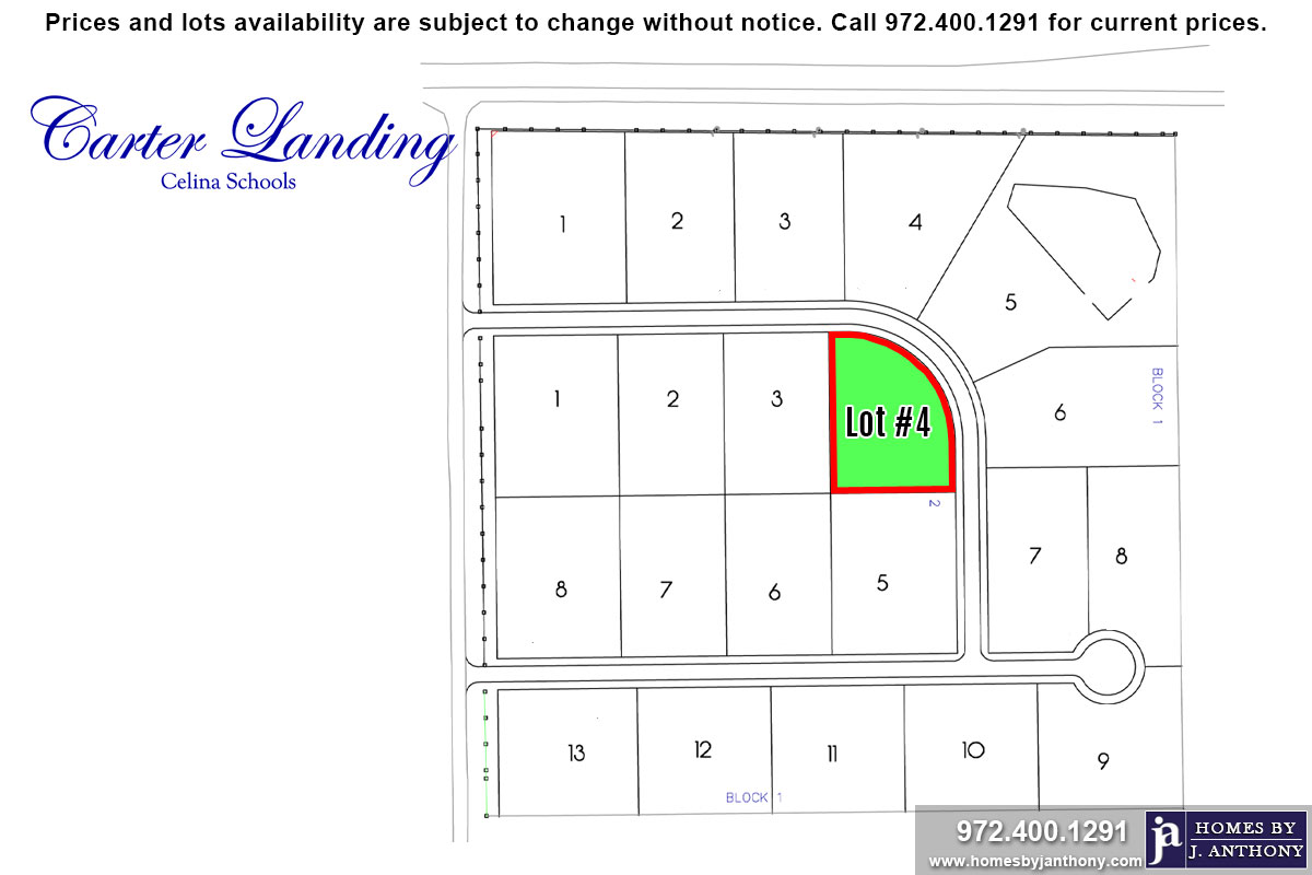Lot For Sale (Lot#4 Block 2, Celina ISD)-Homes By J Anthony offers Premier lots for home construction in Celina, TX, Carter Landing Community