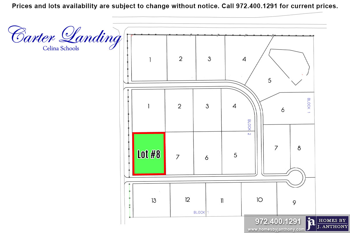 Lot For Sale (Lot#8 Block 2, Celina ISD)-Homes By J Anthony offers Premier lots for home construction in Celina, TX, Carter Landing Community