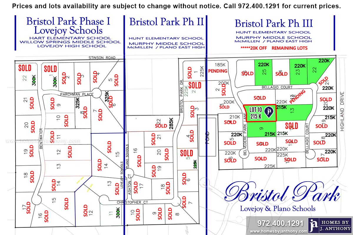 Lot For Sale (Lot#10, Plano ISD)-Homes By J Anthony offers Premier lots for home construction in Lucas TX, Bristol Park Community Ph 3