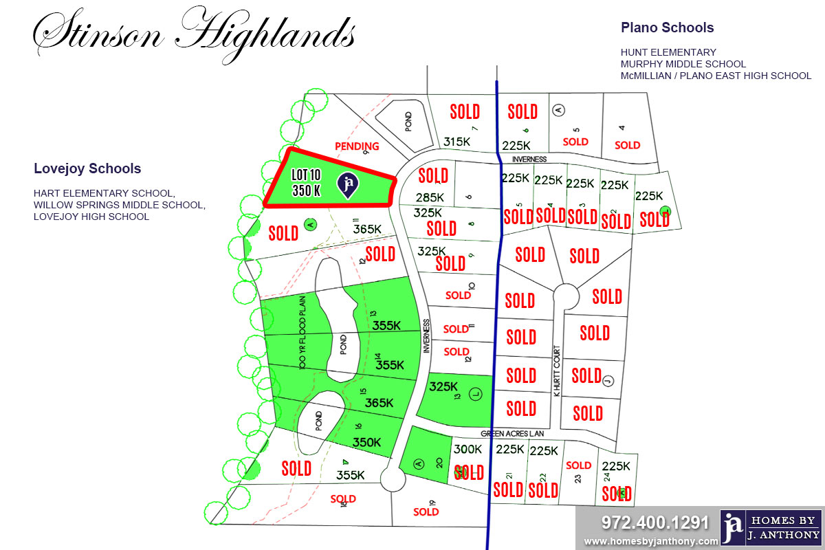 Stinson Highlands Community in Lucas TX-Lot n10 For Sale-November 2019- Homes By J. Anthony-DFW Custom Home Builder