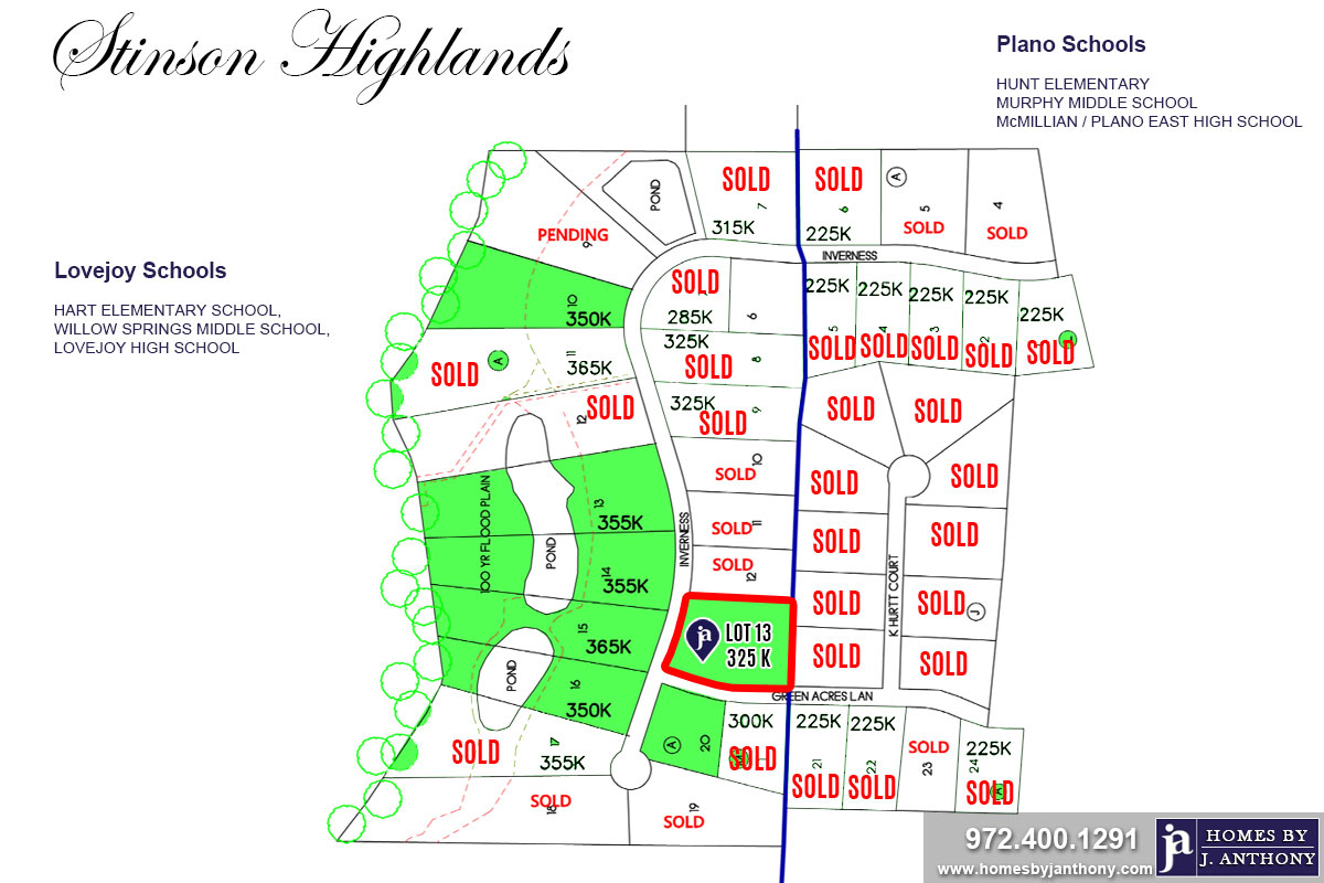 Stinson Highlands Community in Lucas TX-Lot n13 For Sale-November 2019- Homes By J. Anthony-DFW Custom Home Builder