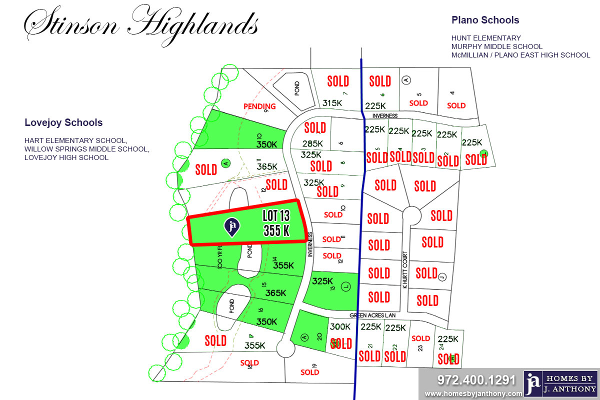 Stinson Highlands Community in Lucas TX-Lot n13a For Sale-November 2019- Homes By J. Anthony-DFW Custom Home Builder