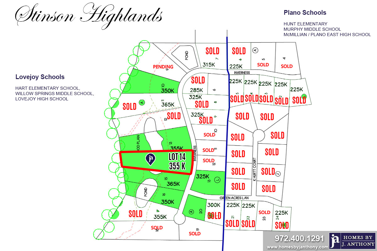 Stinson Highlands Community in Lucas TX-Lot n14a For Sale-November 2019- Homes By J. Anthony-DFW Custom Home Builder