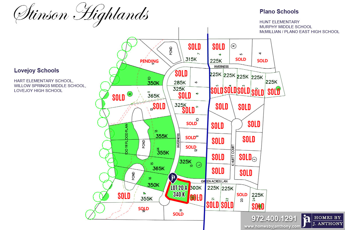 Stinson Highlands Community in Lucas TX-Lot n20 For Sale-November 2019- Homes By J. Anthony-DFW Custom Home Builder