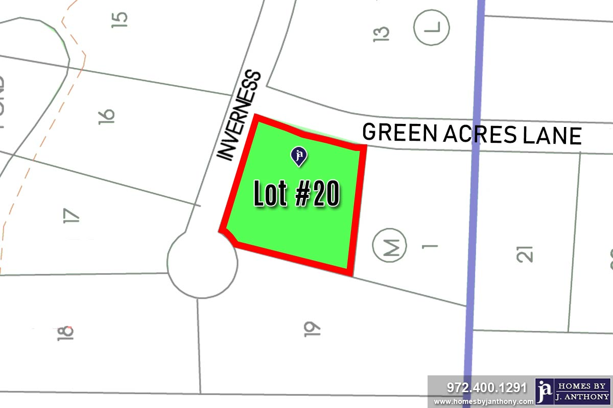 Lot For Sale (Lot#20 A, Lovejoy ISD)-Homes By J Anthony offers Premier lots for home construction in Lucas, TX, Stinson Highlands Community