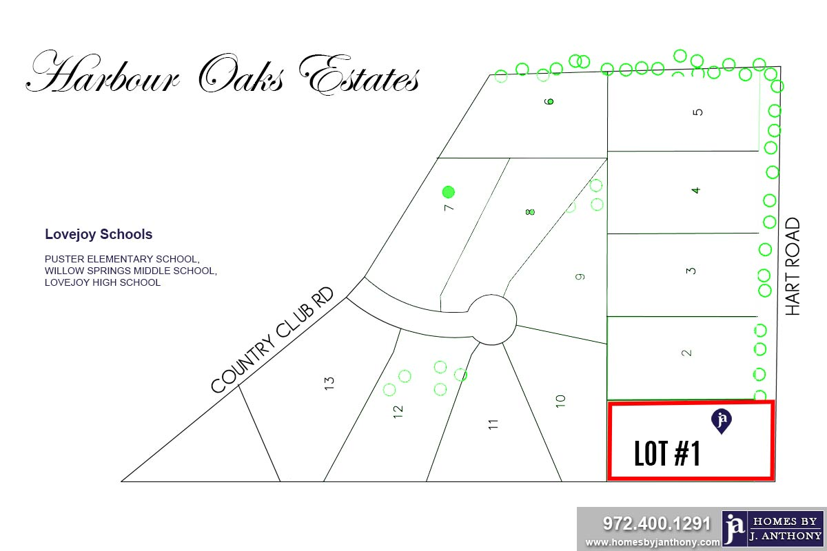 Lot#1-Harbour Oaks Estates Community in Fairview TX- Homes By J. Anthony-DFW Custom Home Builder