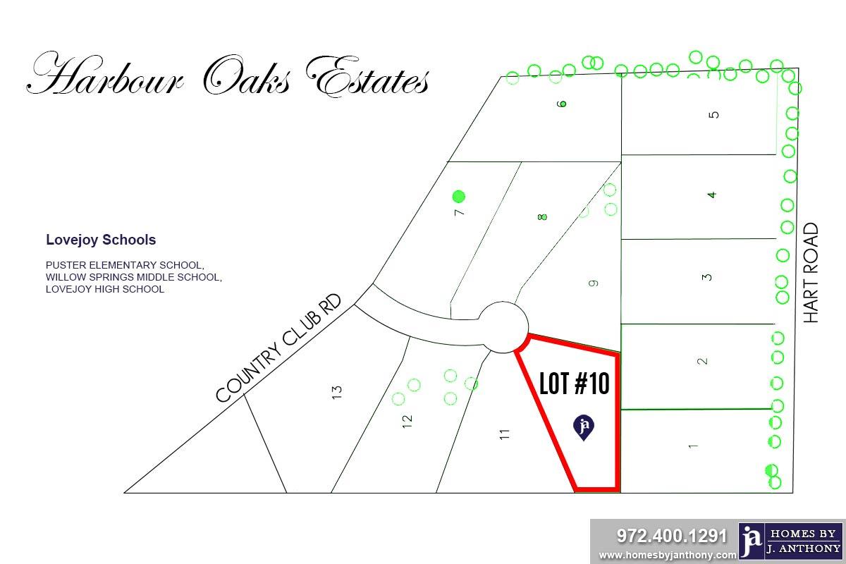 Lot #10. Harbour Oaks Estates Community in Fairview TX-September 2020- Homes By J. Anthony-DFW Custom Home Builder