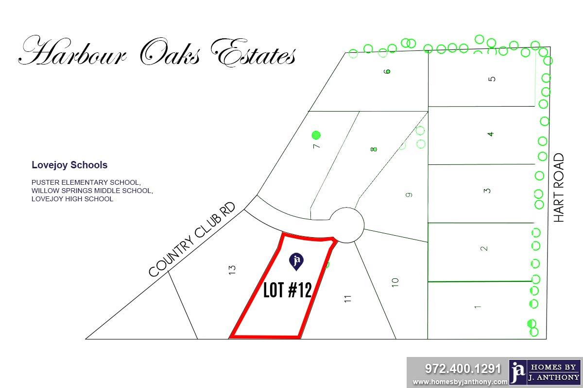 Lot #12. Harbour Oaks Estates Community in Fairview TX-September 2020- Homes By J. Anthony-DFW Custom Home Builder