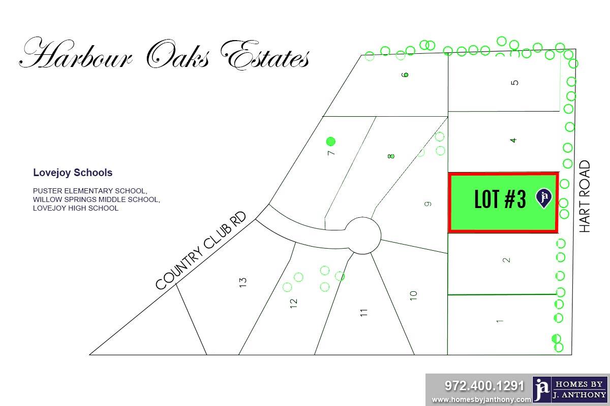 Lot #3. Harbour Oaks Estates Community in Fairview TX-September 2020- Homes By J. Anthony-DFW Custom Home Builder