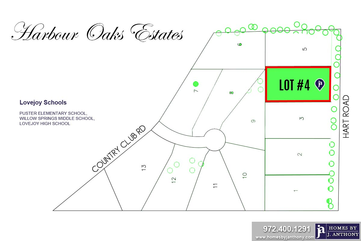 Lot #4. Harbour Oaks Estates Community in Fairview TX-September 2020- Homes By J. Anthony-DFW Custom Home Builder