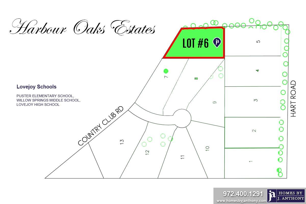 Lot #6. Harbour Oaks Estates Community in Fairview TX-September 2020- Homes By J. Anthony-DFW Custom Home Builder