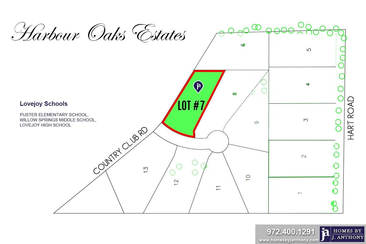 Lot #7. Harbour Oaks Estates Community in Fairview TX-September 2020- Homes By J. Anthony-DFW Custom Home Builder