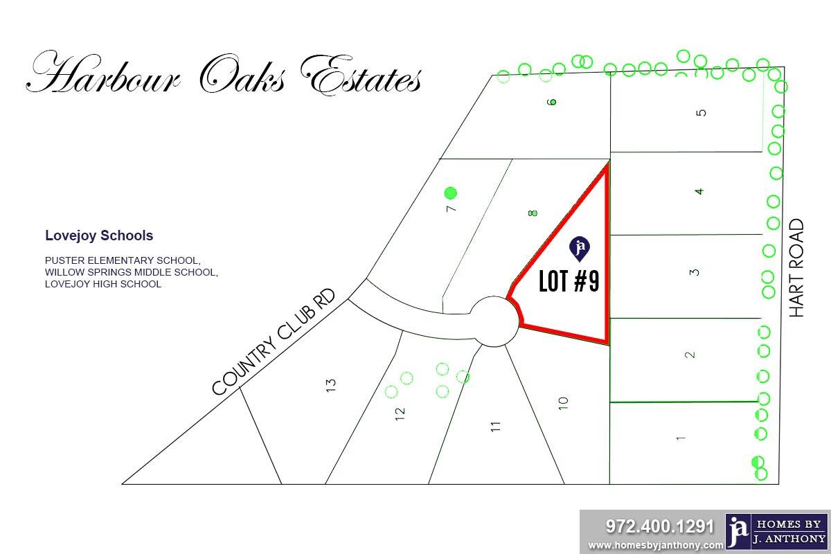Lot #9. Harbour Oaks Estates Community in Fairview TX-September 2020- Homes By J. Anthony-DFW Custom Home Builder