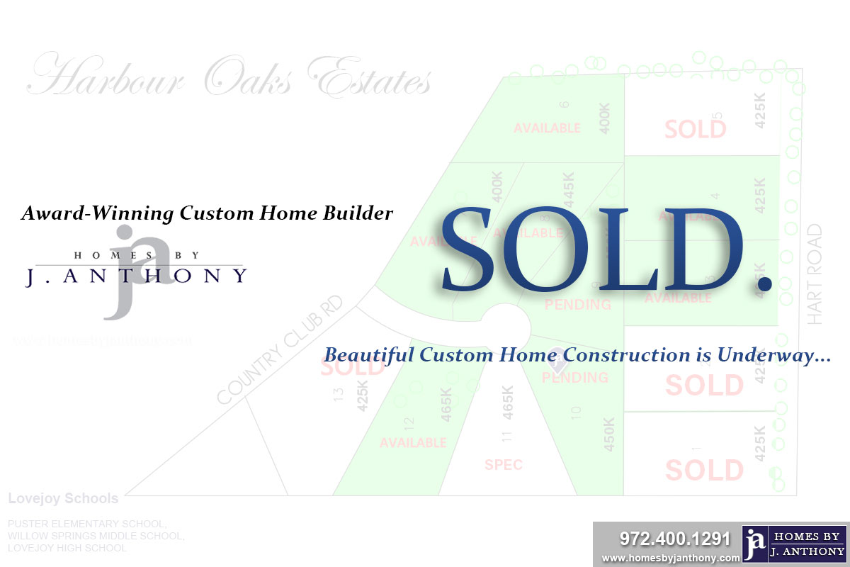 Lot SOLD. Harbour Oaks Estates Community in Fairview TX- Homes By J. Anthony-DFW Custom Home Builder