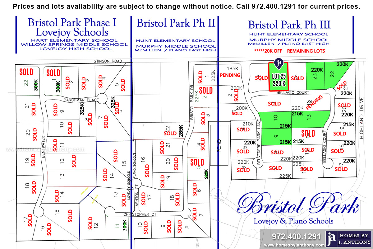 Lot For Sale (Lot#25, Plano ISD)-Homes By J Anthony offers Premier lots for home construction in Lucas TX, Bristol Park Community Ph 3