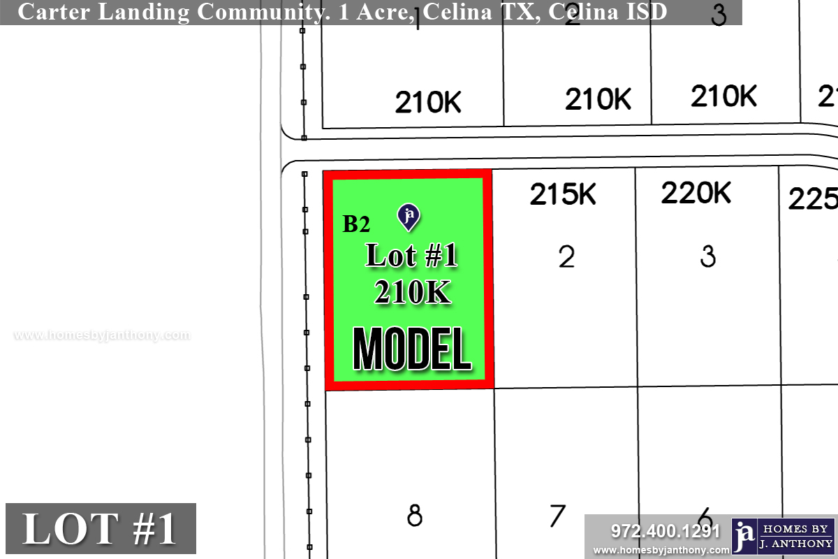 Lot #1 B2 for sale in Carter Landing Community in Celina TX- Homes By J. Anthony-Award Winning DFW Custom Home Builder