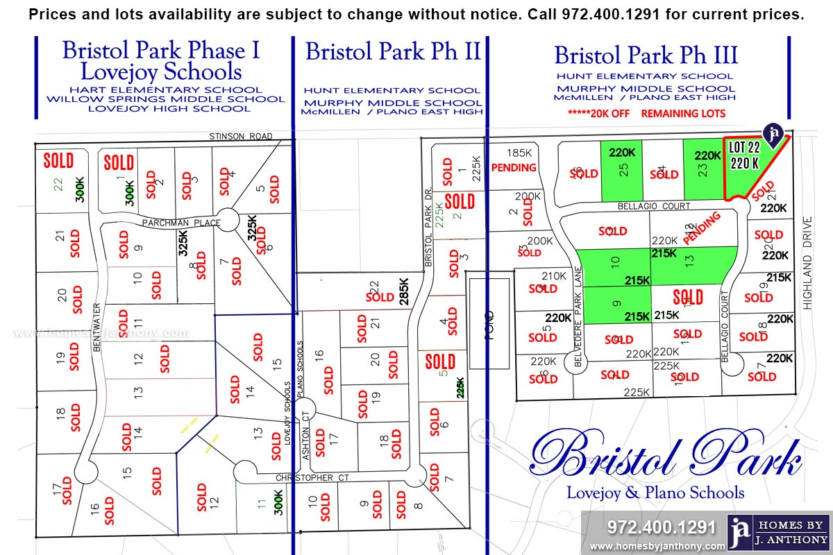 Lot For Sale (Lot#22, Plano ISD)-Homes By J Anthony offers Premier lots for home construction in Lucas TX, Bristol Park Community Ph 3