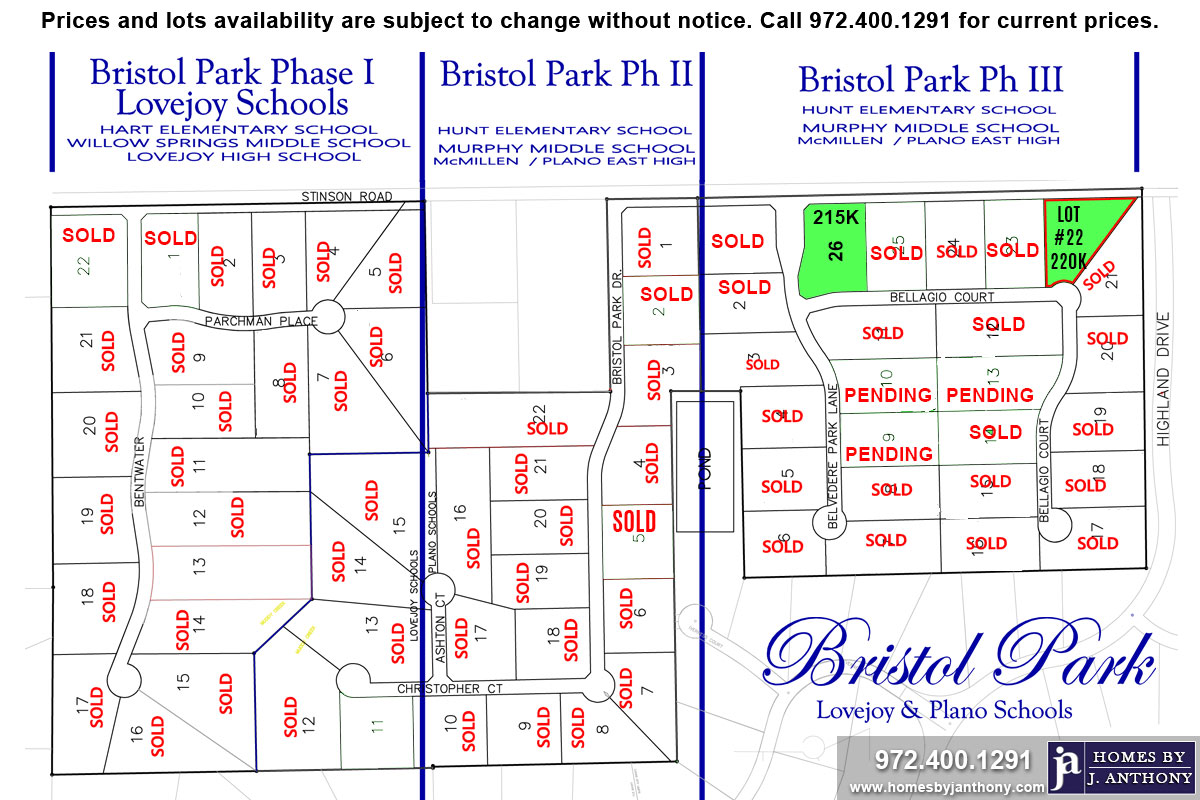 Homesite Lot For Sale (Lot#22, Plano ISD)-Homes By J Anthony offers Premier lots for home construction in Lucas TX, Bristol Park Community Ph 3, Plano ISD