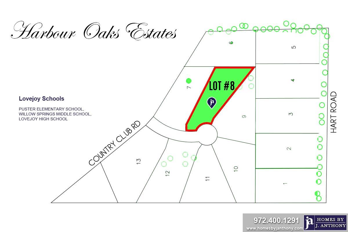 Lot #8. Harbour Oaks Estates Community in Fairview TX-September 2020- Homes By J. Anthony-DFW Custom Home Builder