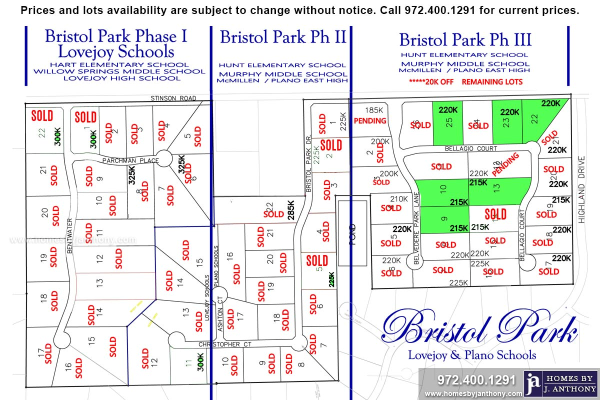 Bristol Park Community in Lucas TX Available Lots For Sale. November 2019 Update - Homes By J. Anthony-DFW Custom Home Builder