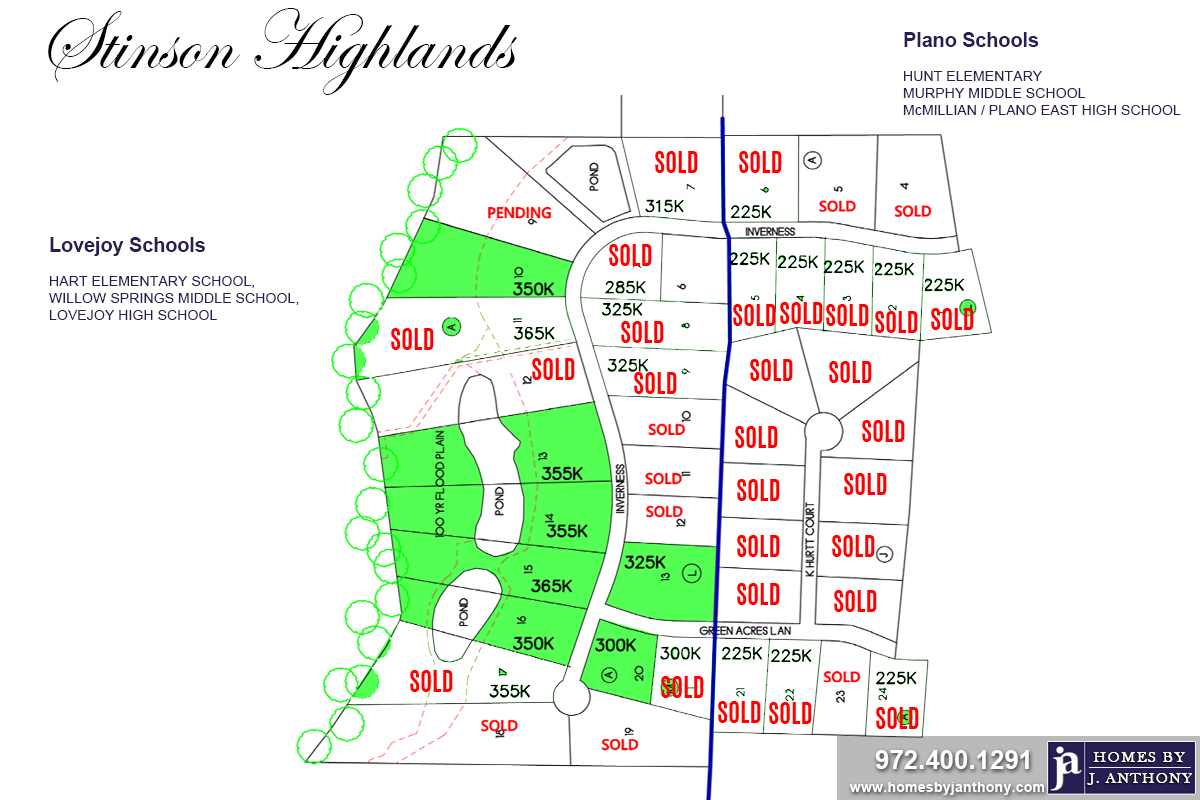 Stinson Highlands Community in Lucas TX-Lots For Sale-November 2019- Homes By J. Anthony-DFW Custom Home Builder