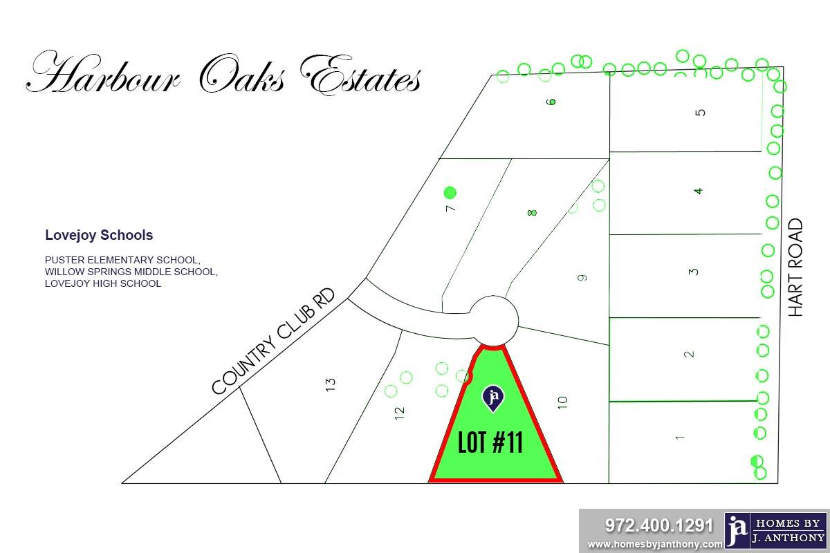 Lot #11. Harbour Oaks Estates Community in Fairview TX-September 2020- Homes By J. Anthony-DFW Custom Home Builder